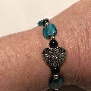 Beautiful Beaded & Heart Stretch Bracelet
